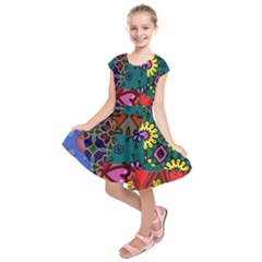 Digitally Created Abstract Patchwork Collage Pattern Kids  Short Sleeve Dress