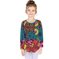 Digitally Created Abstract Patchwork Collage Pattern Kids  Long Sleeve Tee