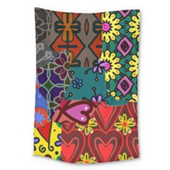 Digitally Created Abstract Patchwork Collage Pattern Large Tapestry