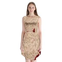 Retro Background Scrapbooking Paper Sleeveless Chiffon Dress
