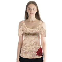 Retro Background Scrapbooking Paper Butterfly Sleeve Cutout Tee