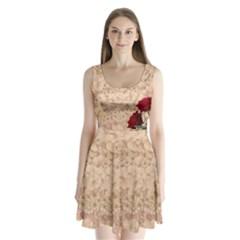 Retro Background Scrapbooking Paper Split Back Mini Dress