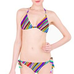 Multi Color Tangled Ribbons Background Wallpaper Bikini Set