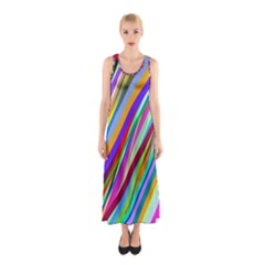 Multi Color Tangled Ribbons Background Wallpaper Sleeveless Maxi Dress