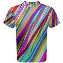 Multi Color Tangled Ribbons Background Wallpaper Men s Cotton Tee