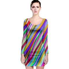 Multi Color Tangled Ribbons Background Wallpaper Long Sleeve Bodycon Dress