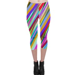 Multi Color Tangled Ribbons Background Wallpaper Capri Leggings