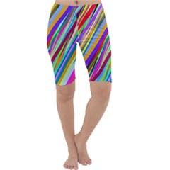 Multi Color Tangled Ribbons Background Wallpaper Cropped Leggings
