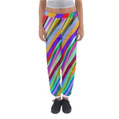 Multi Color Tangled Ribbons Background Wallpaper Women s Jogger Sweatpants
