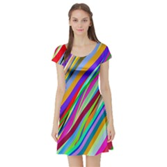 Multi Color Tangled Ribbons Background Wallpaper Short Sleeve Skater Dress