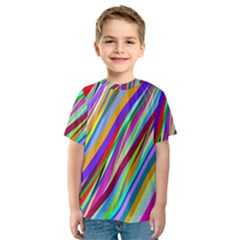 Multi Color Tangled Ribbons Background Wallpaper Kids  Sport Mesh Tee