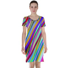 Multi Color Tangled Ribbons Background Wallpaper Short Sleeve Nightdress