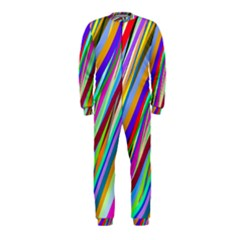 Multi Color Tangled Ribbons Background Wallpaper Onepiece Jumpsuit (kids)