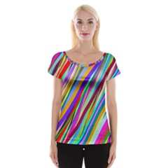 Multi Color Tangled Ribbons Background Wallpaper Women s Cap Sleeve Top