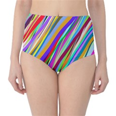 Multi Color Tangled Ribbons Background Wallpaper High Waist Bikini Bottoms