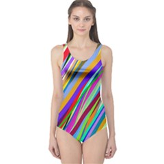 Multi Color Tangled Ribbons Background Wallpaper One Piece Swimsuit