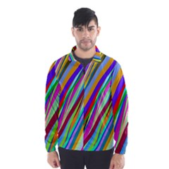 Multi Color Tangled Ribbons Background Wallpaper Wind Breaker (men)