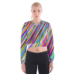 Multi Color Tangled Ribbons Background Wallpaper Women s Cropped Sweatshirt