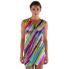 Multi Color Tangled Ribbons Background Wallpaper Wrap Front Bodycon Dress