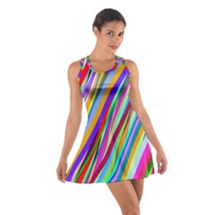 Multi Color Tangled Ribbons Background Wallpaper Cotton Racerback Dress
