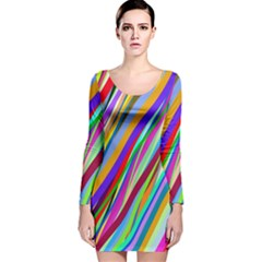 Multi Color Tangled Ribbons Background Wallpaper Long Sleeve Velvet Bodycon Dress
