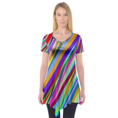 Multi Color Tangled Ribbons Background Wallpaper Short Sleeve Tunic