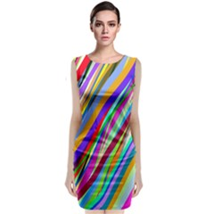 Multi Color Tangled Ribbons Background Wallpaper Classic Sleeveless Midi Dress