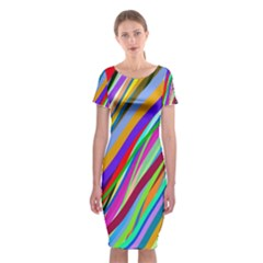Multi Color Tangled Ribbons Background Wallpaper Classic Short Sleeve Midi Dress