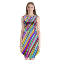 Multi Color Tangled Ribbons Background Wallpaper Sleeveless Chiffon Dress