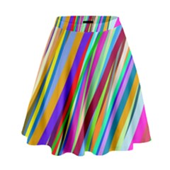 Multi Color Tangled Ribbons Background Wallpaper High Waist Skirt