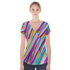Multi Color Tangled Ribbons Background Wallpaper Short Sleeve Front Detail Top