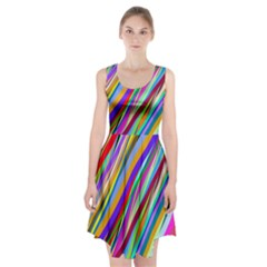 Multi Color Tangled Ribbons Background Wallpaper Racerback Midi Dress