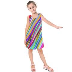 Multi Color Tangled Ribbons Background Wallpaper Kids  Sleeveless Dress