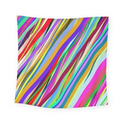 Multi Color Tangled Ribbons Background Wallpaper Square Tapestry (small)