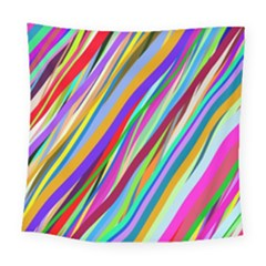 Multi Color Tangled Ribbons Background Wallpaper Square Tapestry (large)