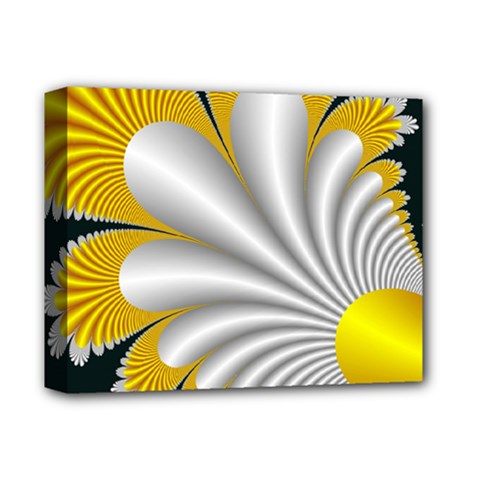 Fractal Gold Palm Tree On Black Background Deluxe Canvas 14  X 11