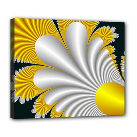 Fractal Gold Palm Tree On Black Background Deluxe Canvas 24  X 20