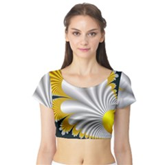 Fractal Gold Palm Tree On Black Background Short Sleeve Crop Top (Tight Fit)