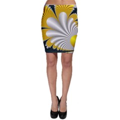 Fractal Gold Palm Tree On Black Background Bodycon Skirt
