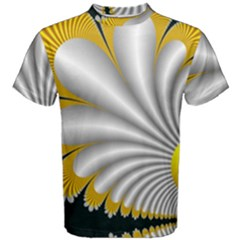 Fractal Gold Palm Tree On Black Background Men s Cotton Tee