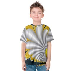 Fractal Gold Palm Tree On Black Background Kids  Cotton Tee