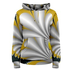 Fractal Gold Palm Tree On Black Background Women s Pullover Hoodie