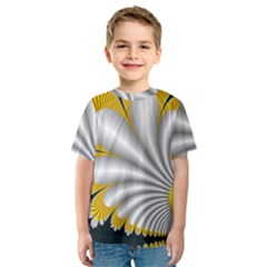 Fractal Gold Palm Tree On Black Background Kids  Sport Mesh Tee