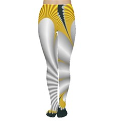 Fractal Gold Palm Tree On Black Background Women s Tights