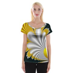 Fractal Gold Palm Tree On Black Background Women s Cap Sleeve Top