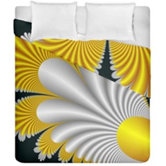 Fractal Gold Palm Tree On Black Background Duvet Cover Double Side (california King Size)