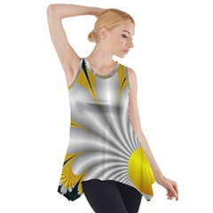 Fractal Gold Palm Tree On Black Background Side Drop Tank Tunic
