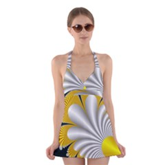 Fractal Gold Palm Tree On Black Background Halter Swimsuit Dress