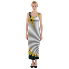 Fractal Gold Palm Tree On Black Background Fitted Maxi Dress