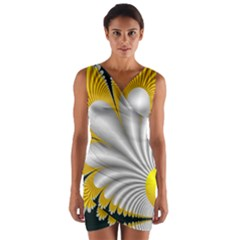 Fractal Gold Palm Tree On Black Background Wrap Front Bodycon Dress